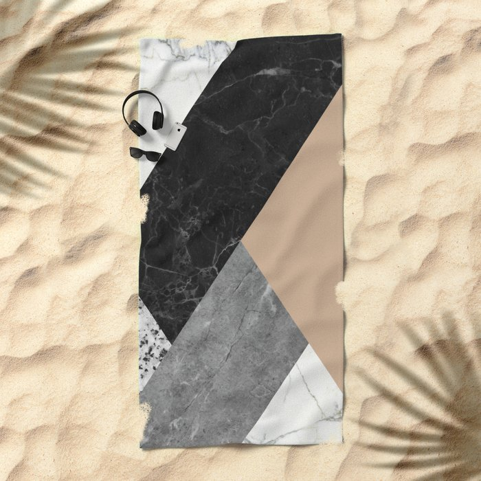 Black and white marbles and pantone hazelnut color Beach Towel