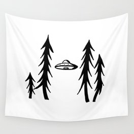 UFO in spruces Wall Tapestry