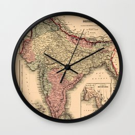 Map Of India 1857 Wall Clock