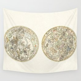 Zodiac chart of Northern and Southern constellations Wall Tapestry