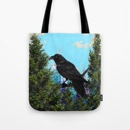 CROW &  Mountain Landscape Pines In Blue-Greens Tote Bag