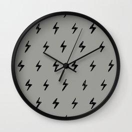 Gray & Black Lightening Bolt Pattern Wall Clock