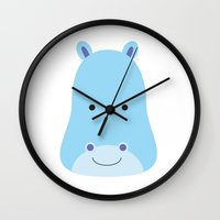 hippo Wall Clocks featuring Hippo by Ilona