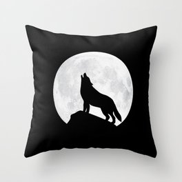 Howling Wolf - Moon Throw Pillow