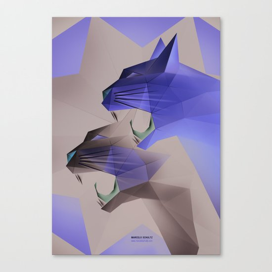Geometric Cats Canvas Print