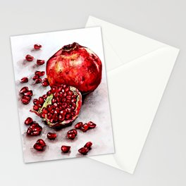 Red pomegranate watercolor art painting Stationery Cards