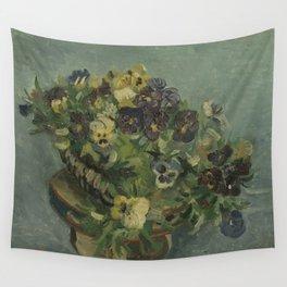 Basket of Pansies Wall Tapestry