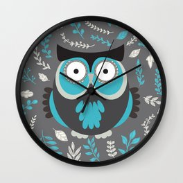 BLUE OWL AND LEAVES Wall Clock