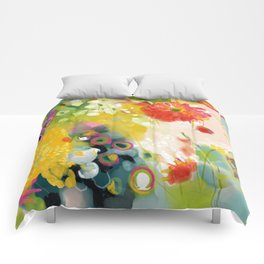 abstract floral art in yellow green and rose magenta colors Comforters