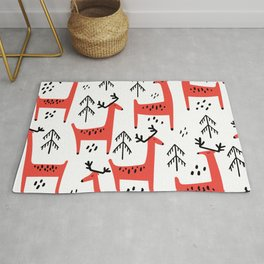 Cute red deer and fir trees. Vintage christmas hand drawn illustration pattern. Rug