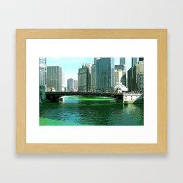 Chicago River on St. Patrick's Day #Chicago Framed Art Print