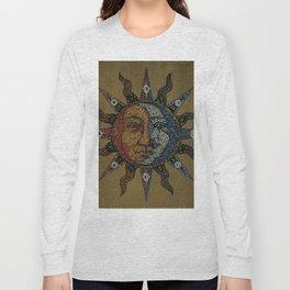 Vintage Celestial Mosaic Sun & Moon Long Sleeve T-shirt