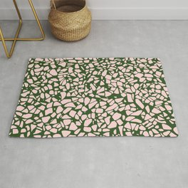 Stone Pattern - Salmon Pink & Olive Green Rug