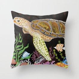 Sea Turtle, Reef Fish Throw Pillow