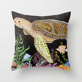 Sea Turtle, Reef Fish Throw Pillow