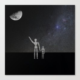 Wooden Anatomy Doll Father Points to Moon with Child Canvas Print