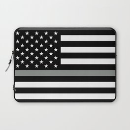 U.S. Flag: Black Flag & The Thin Grey Line Laptop Sleeve