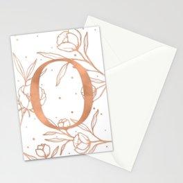 Letter O Rose Gold Monogram / Initial Botanical Illustration Stationery Cards