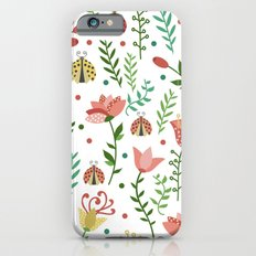 Floral pattern with ladybugs Slim Case iPhone 6