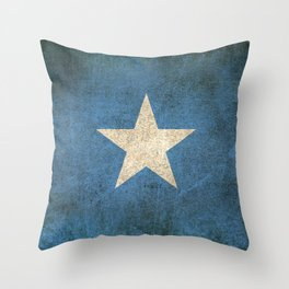 Old and Worn Distressed Vintage Flag of Somalia Throw Pillow