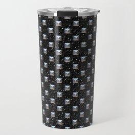 Metal Studs on Black Leather Travel Mug