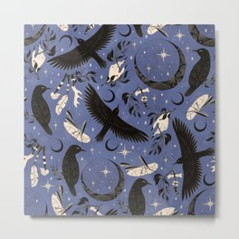 Raven Tarot Blue Metal Print