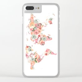 Floral Watercolor World Map - Pink, Coral, Aqua Flowers Clear iPhone Case