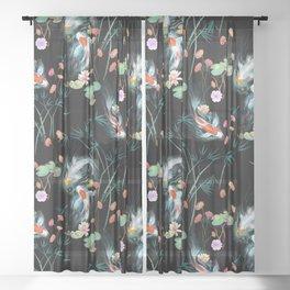 Japanese Water Garden Sheer Curtain
