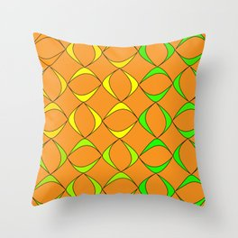 Pattern from schematic colorful objects to represent natural products on a black background. Throw Pillow