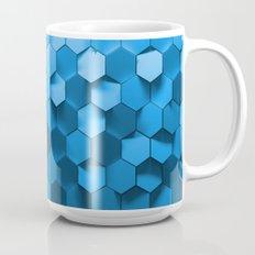 Blue hexagon abstract pattern Mug