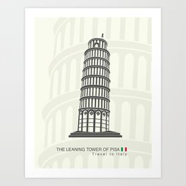 figure leaning tower of Pisa in Italy Art Print