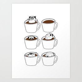 More Coffee Pug Art Print