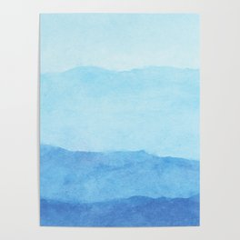 Ombre Waves in Blue Poster
