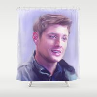 dean winchester Shower Curtains featuring Dean Winchester Pastel by Kaye Pyle