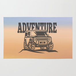 adventure off-road car trip Rug