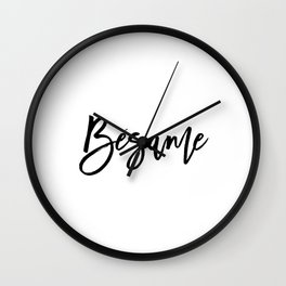 Love Quote Bésame Anniversary Gift For Him For Her Wall Quote Quote Print Art Spanish Quote Kiss Me Wall Clock