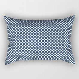 Navy Peony and White Polka Dots Rectangular Pillow