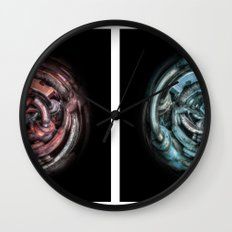 The caterpillar machinery red and cyan brothers Wall Clock