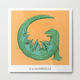 G is for Godzilla Metal Print
