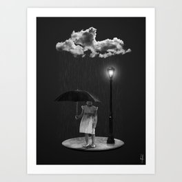 Girl in the Rain  Art Print