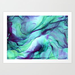 Violet Turquoise Flow - Alcohol Ink Painting Art Print