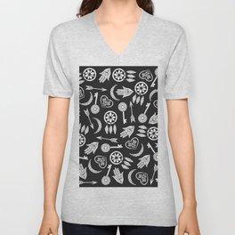 Modern Black and White Popular Symbols Unisex V-Neck