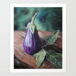 "Pastel Drawing ""Elegant Eggplant"" Art Print"