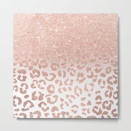 Trendy modern faux rose gold glitter ombre leopard pattern Metal Print