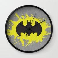 bat man Wall Clocks featuring Bat Man by Some_Designs