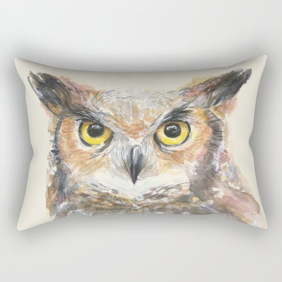 Owl Great Horned Bird Animals Rectangular Pillow
