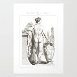 Human Anatomy Art Print WOMEN BODY BACK Vintage Anatomy, doctor medical art, Antique Book Plate, Med Art Print
