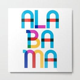 Alabama State Mid Century, Pop Art Mondrian Metal Print