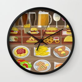 fast food gourmet food beer wine and plates Wall Clock