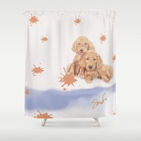 puppies Shower Curtains featuring Puppies by Nancy Smith